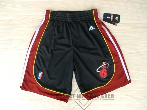 Maillot NBA Pas Cher - Short Basket Miami Heat Noir Rouge