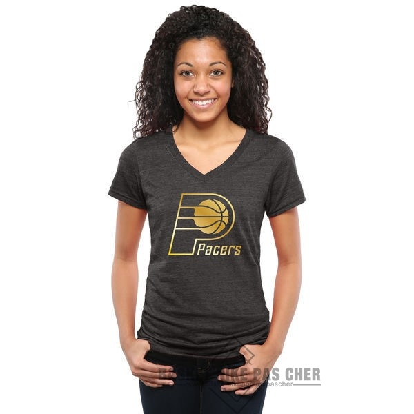 Maillot NBA Pas Cher - T-Shirt Femme Indiana Pacers Noir Or